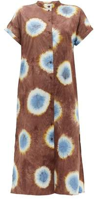 Sea Tie Dye Buttoned Cotton Poplin Midi Dress - Womens - Brown Multi