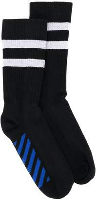 Off-White striped logo socks