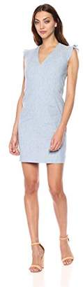 T Tahari Women's Patty Sleeveless Linen V-Neck Dress