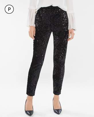 Petite Sequined and Panne Tapered Ankle Pants