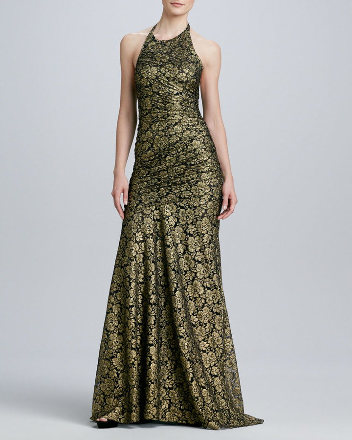 Carmen Marc Valvo Halter Gown with Lace Overlay