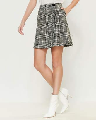 Blugirl Wool Glen Check Wrap Skirt