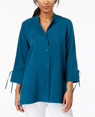 Eileen Fisher Button-Front Silk Shirt, Regular & Petite