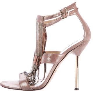 B Brian Atwood Lenoire Metallic Sandals $160 thestylecure.com