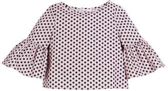 Milly Minis Polka-Dot Ruffle-Sleeve Cotton Blouse, Size 8-16
