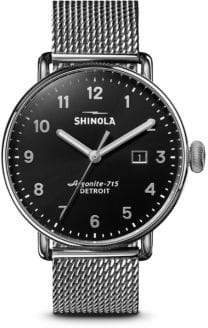 Shinola The Canfield Stainless Steel Mesh Bracelet Watch