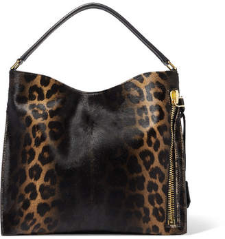 Tom Ford Alix Small Leather-trimmed Leopard-print Calf Hair Tote - Black