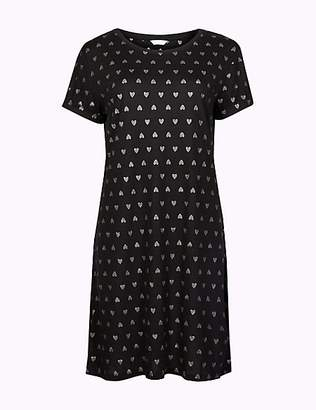 M&S Collection Glitter Heart Print Short Nightdress