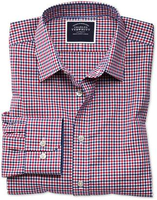 Charles Tyrwhitt Slim Fit Non-Iron Red and Navy Gingham Oxford Cotton Casual Shirt Single Cuff Size XS