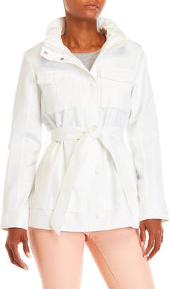 Rachel Roy White Belted Utilitarian Trench