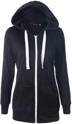 Suvotimo Women Casual Pullover Fleece Full Zip Up Hoodie Sweater Sweatshirts Tops L