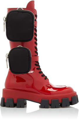 Prada Patent-Leather Combat Boots