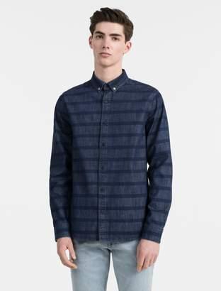 Calvin Klein slim fit indigo stripe shirt