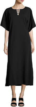 Joan Vass Long Dolman Sleeve Dress w/ Lattice Detail, Petite