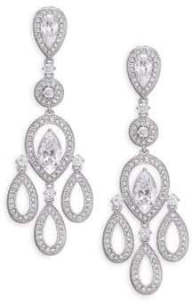 Adriana Orsini Pave Pear Chandelier Earrings/Silvertone
