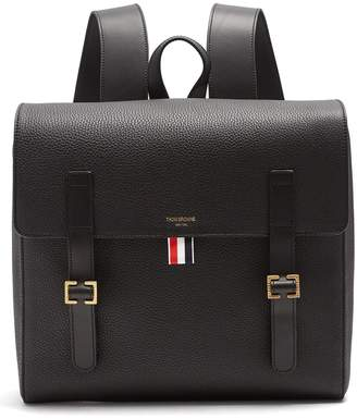 Thom Browne Buckle-strap grained-leather backpack
