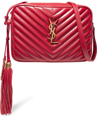 Saint Laurent Monogramme Lou Medium Quilted Leather Shoulder Bag - Red