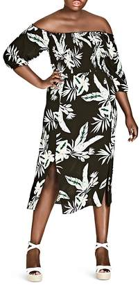 City Chic Plus Oahu Floral Off-the-Shoulder Midi Dress