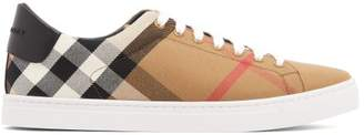 Burberry Check Low Top Canvas Trainers - Mens - Black
