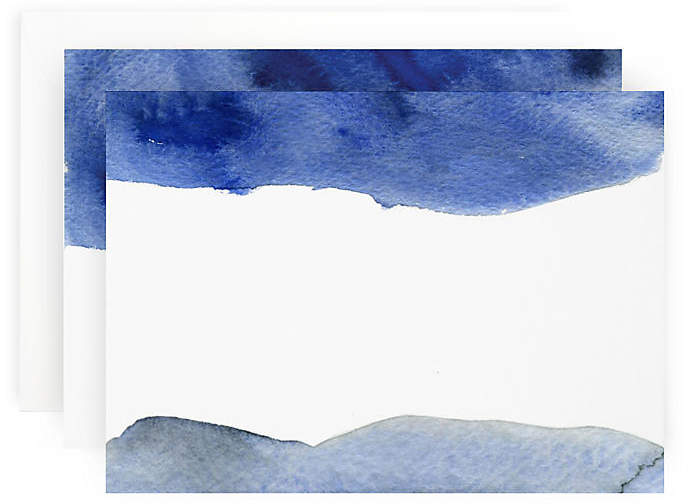 Set of 10 Note Cards - Blue Wash