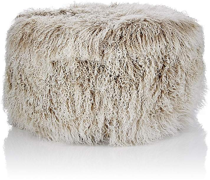 Tibetan Lamb Fur Round Ottoman