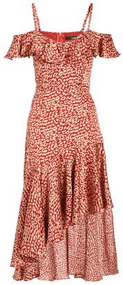 Quiz TOWIE Rust and Stone Leopard Cold Shoulder Frill Dress