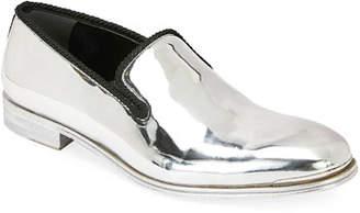 Alexander McQueen Men's Metallic Leather Slip-On Dress Shoes