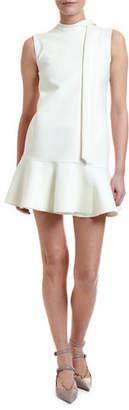 Valentino Crepe Cocktail Flounce-Hem Mini Dress