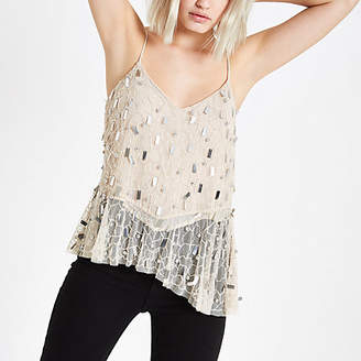 River Island Womens Cream sequin asymmetic hem cami top