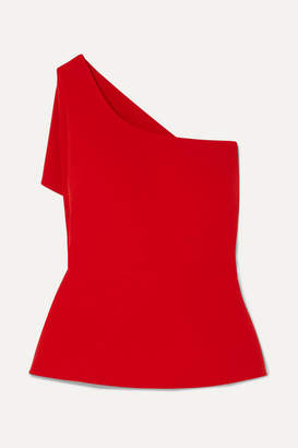 Safiyaa One-shoulder Asymmetric Draped Stretch-crepe Top - Red