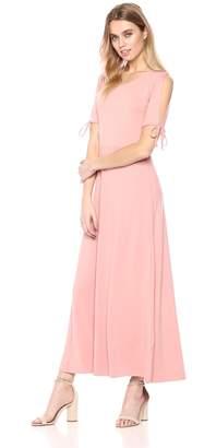 Star Vixen Women's Short/Slit Sleeve Keyhole-Back Skater Seam Maxi Dress, M
