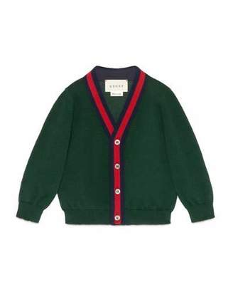 Gucci Cotton Button-Front V-Neck Cardigan, Green/Red, Size 6-36 Months $255 thestylecure.com