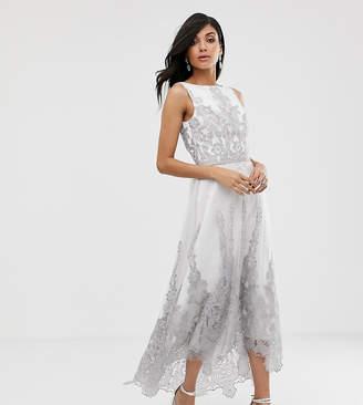 Chi Chi London Tall premium lace midi dress with dip hem in white