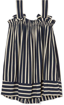 Faithfull The Brand Ocean Dip Striped Crepe Mini Dress - Navy
