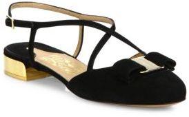 Salvatore Ferragamo Felma Strappy Suede Ballet Flats $595 thestylecure.com
