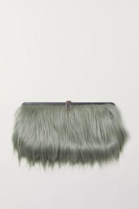 H&M Faux Fur Clutch - Turquoise