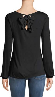 Neiman Marcus Grommet Embellished Tie-Back Chiffon Tee