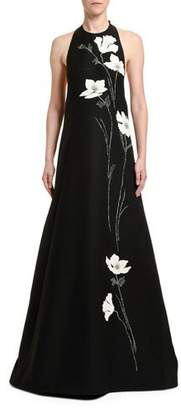 Valentino Embroidered Wool-Silk Flower Gown