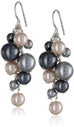 Simulated Pearl Cluster Drop Earrings