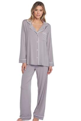 The Birds Nest LUXE MILK JERSEY PIPED PAJAMA SET - PEWTER (SMALL)