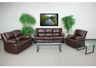 Flash Furniture Harmony Series Brown Leather Reclining Sofa Set