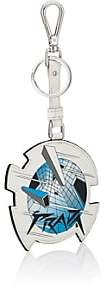Prada Men's Geometric-Print Leather Key Chain-White