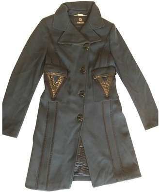 Gianni Versace Blue Wool Coat for Women