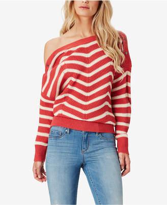 Jessica Simpson Juniors' Mei Striped Boat-Neck Sweater