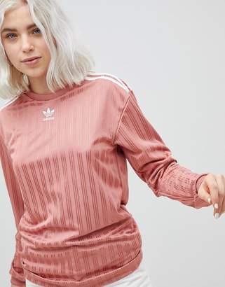 adidas Three Stripe Long Sleeve Top In Pink