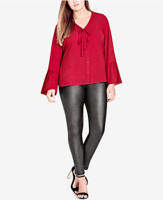 City Chic Trendy Plus Size Bell-Sleeve Blouse
