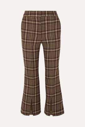 ADAM by Adam Lippes Cropped Checked Woven Flared Pants - Brown