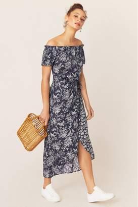 Oasis Womens Blue Floral Bardot Midi Dress - Blue