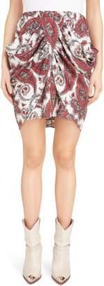 Isabel Marant Tilena Techno Paisley Ruched Skirt