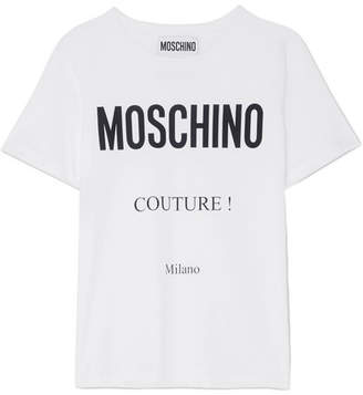 Moschino Printed Cotton-jersey T-shirt - White